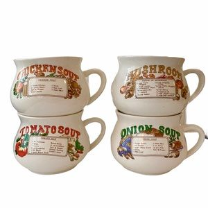 Vintage Set of 4 Soup Mugs with Recipes 1970's